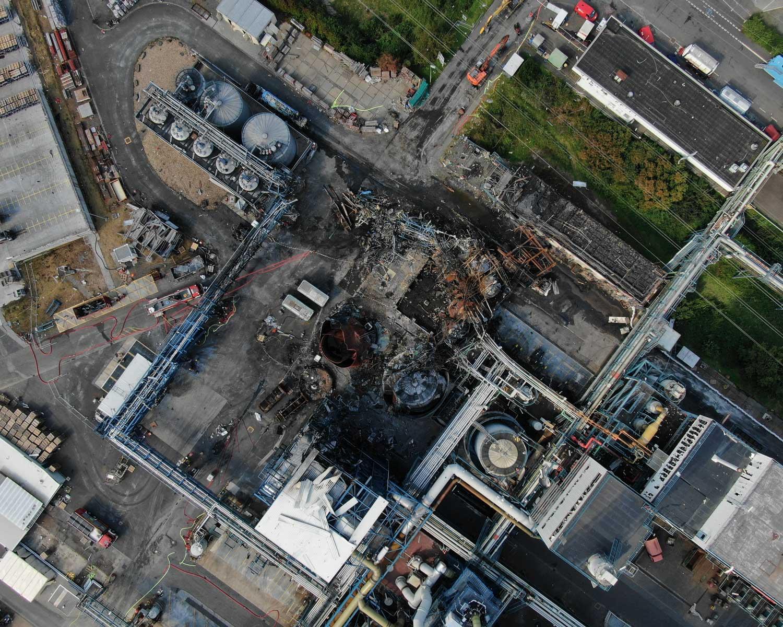 Drohnenbild der Unfallstelle in Bürrig vom 4. August 2021