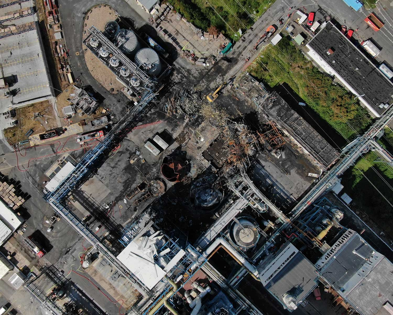 Drohnenbild der Unfallstelle in Bürrig vom 5. August 2021