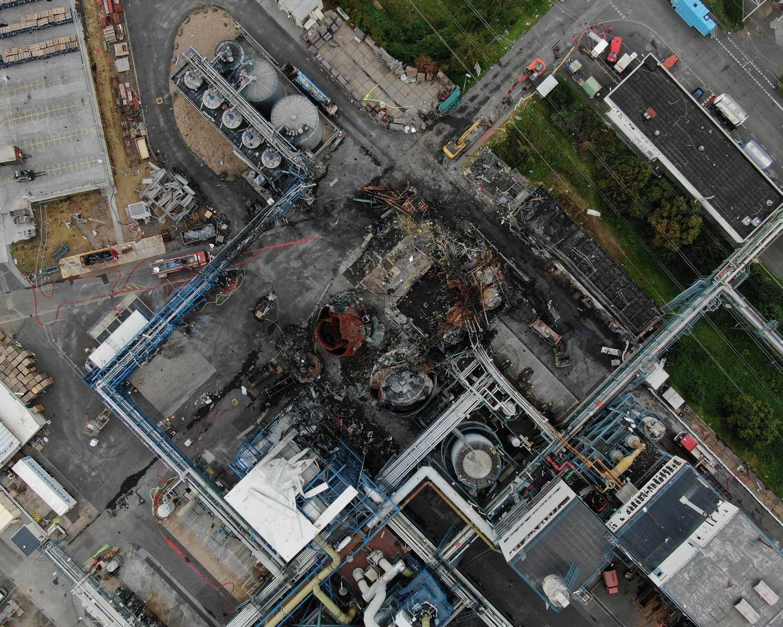 Drohnenbild der Unfallstelle in Bürrig vom 6. August 2021