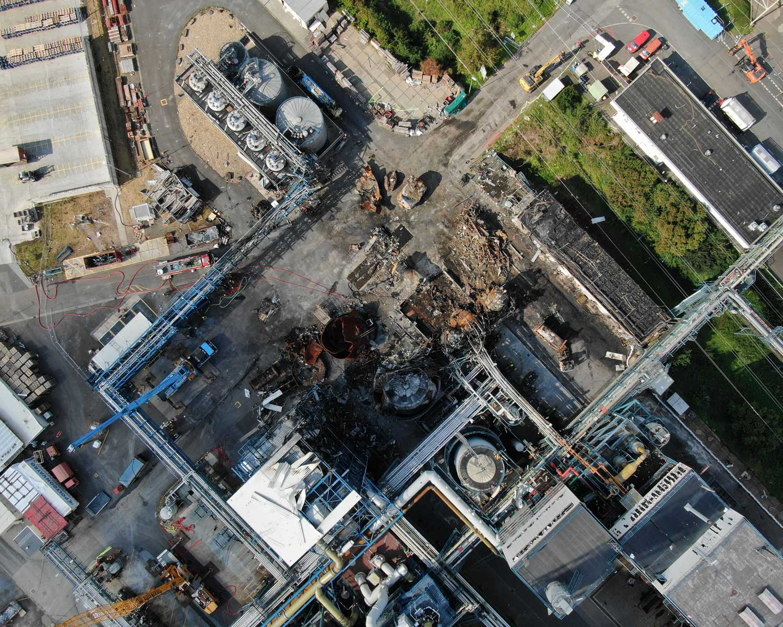 Drohnenbild der Unfallstelle in Bürrig vom 11. August 2021