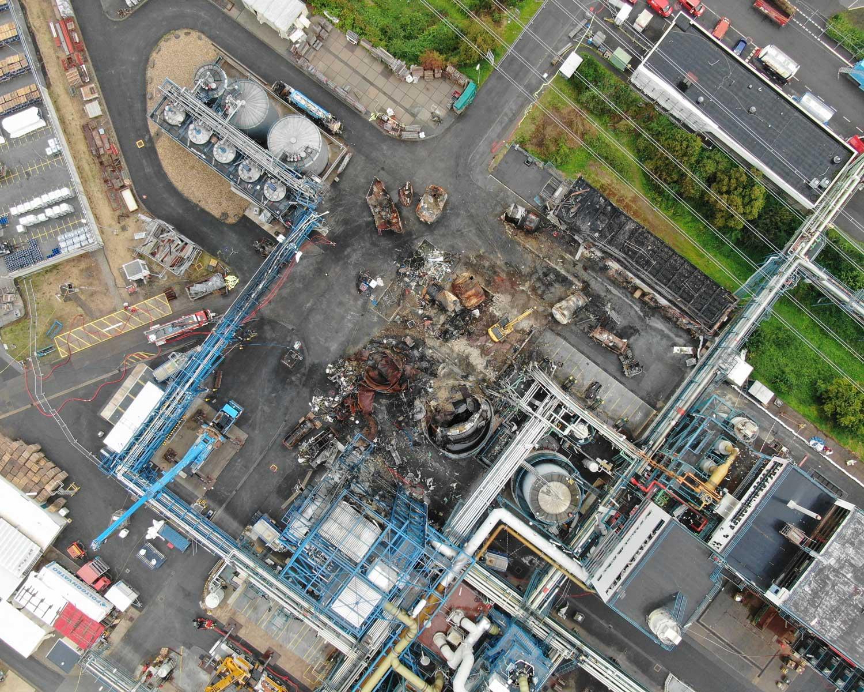 Drohnenbild der Unfallstelle in Bürrig vom 17. August 2021