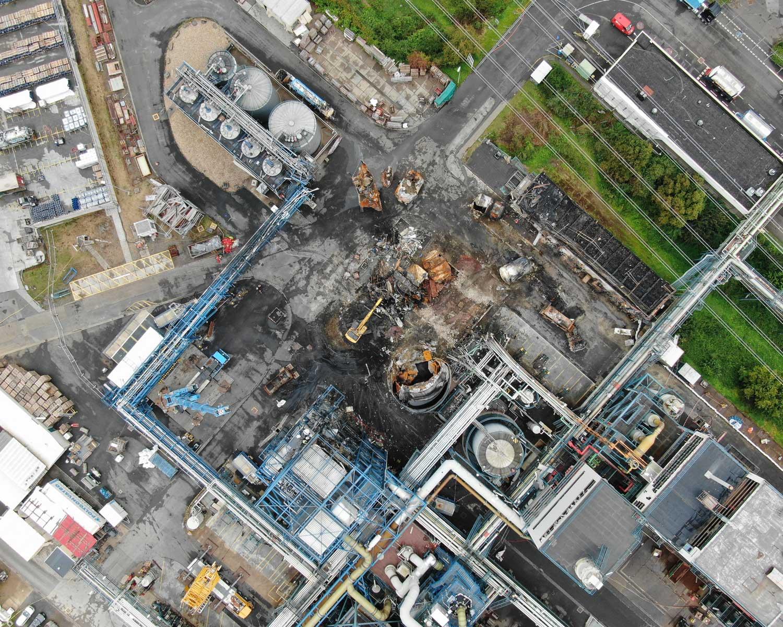 Drohnenbild der Unfallstelle in Bürrig vom 18. August 2021