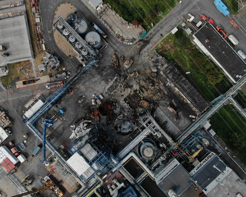 Drohnenbild der Unfallstelle in Bürrig vom 12. August 2021